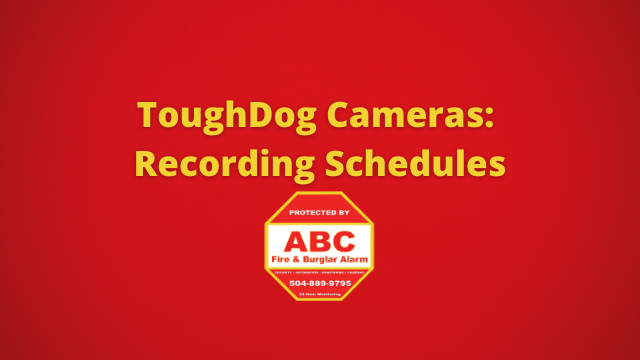 ToughDog Cameras Recording Schedules